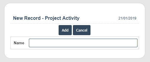 Project Activity add
